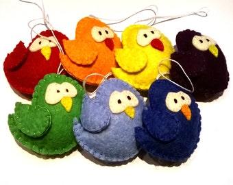 Bird ornament rainbow set- felt ornaments - SET OF 7 - bird ornament - felt animals - Christmas ornaments - home decor - house warming