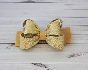 Gold Hair Clip, Gold Bow Hair Clip, Bow Hair Clip, Toddler Gold Hair Clip, Girls Bow Hair Clip, Big Bow Hair Clip, 984