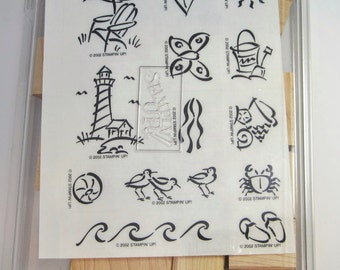 Stampin' Up On The Beach Stamp Set Unmounted 13 Designs