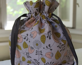 Small Knitting/Crochet Project Drawstring Bag - Flowers, Buds, and Leaves