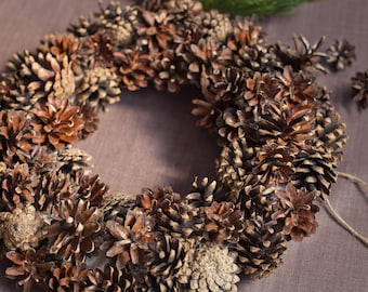 Pine Cone Wreath DIY Wreath Christmas Wreath Christmas Decor Rustic Wedding Decor Rustic Home Decor Event Holiday Decor Natural Dried Wreath