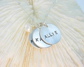 Hand Stamped Jewelry Name Charm Mom Necklace