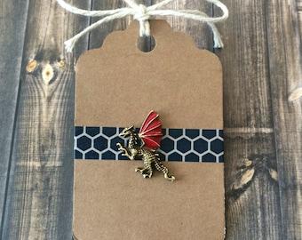 Lil' Dragon Lapel Pin / Tie Tack - Antique Bronze Tone - Red Enamel Wings