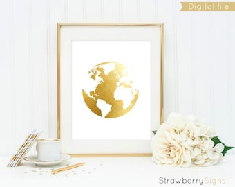 Gold foil world map etsy gold foil world map earth print printable poster gold world map digital sciox Gallery