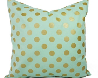 Two Metallic Gold Pillow Covers - Mint and Gold Pillow Cover - Decorative Pillow - Polka Dot Pillows - Nursery Pillow - Mint Green Pillow