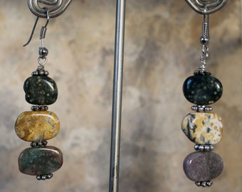 Ocean Jasper Triple Layer Earrings