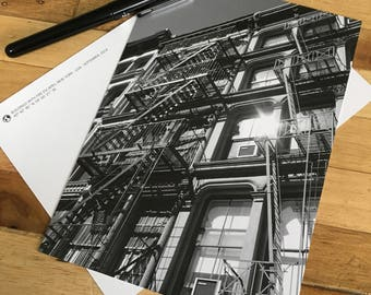 Card - New York City - Fire escapes in the sun
