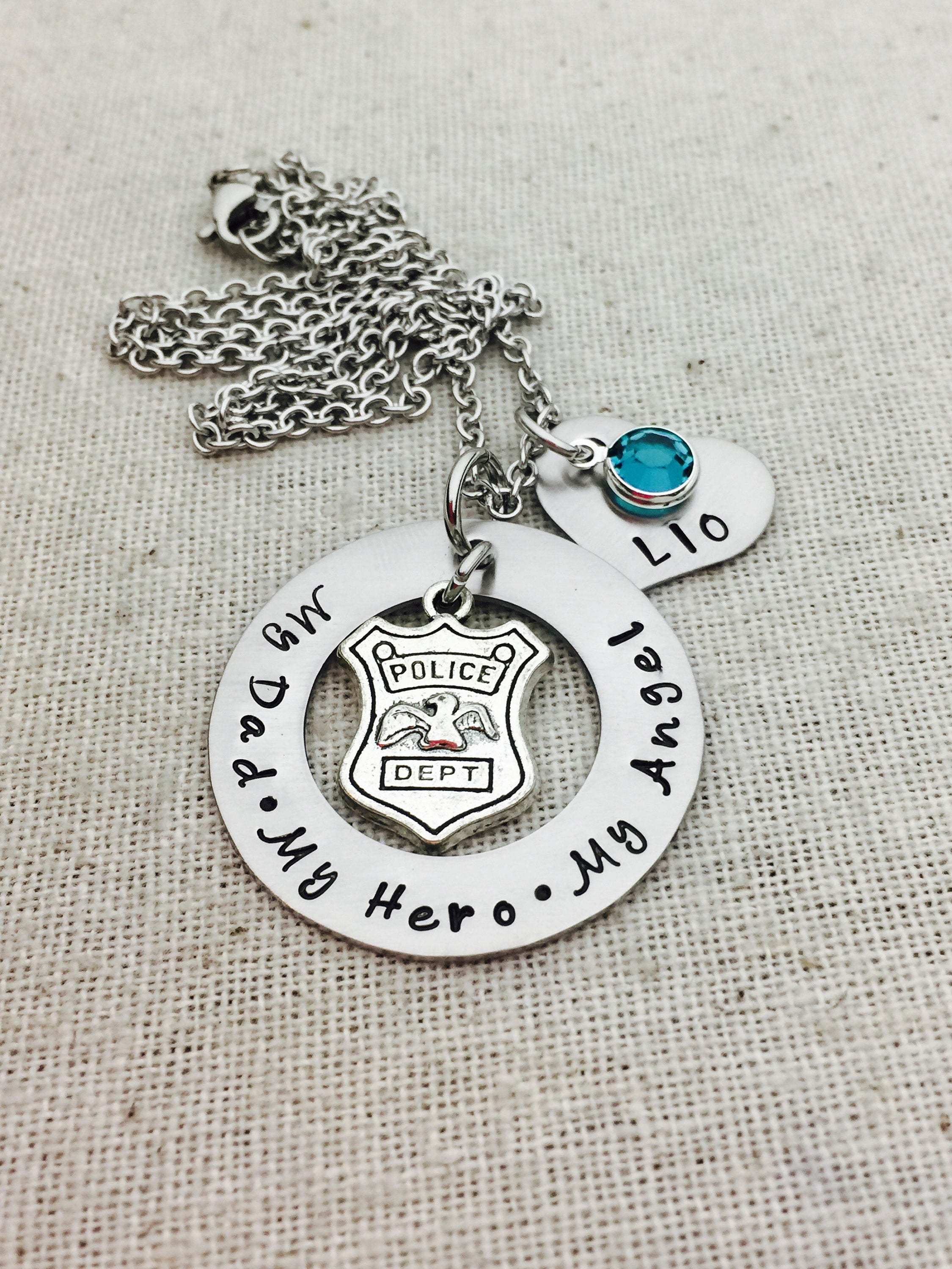 badge original designs police pendant piece my blue digital heart number with products silver of