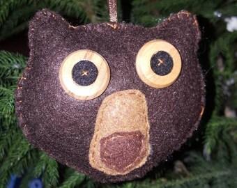 Bear Ornament, Brown Bear Ornament, Felt Bear Ornament, Rustic Brown Bear, Woodland Bear