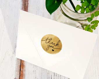 Gold Foil THANK YOU Stickers - Wedding Favor, Shower, Thank you Stickers - Wedding Favors -  24 Stickers in each pack