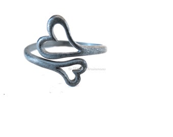 Hand Oxidized Double Heart Adustable Ring - Patina Solid 925 Sterling Silver - Insurance Included