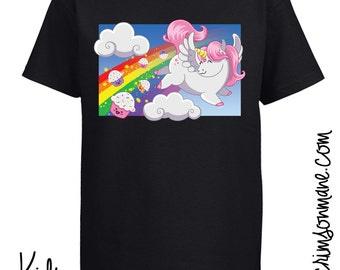 Cute Unicorn Pooping Cupcakes Rainbow T-Shirt