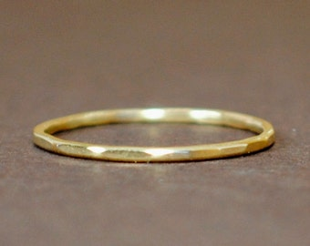 Gold Ring/ Thin Gold Ring/ Gold Ring/14k Gold Ring/Tiny Solid Gold/ Thin Gold Band/Custom Teeny Weenie Slightly Beaten Ring *Solid 14k Gold*