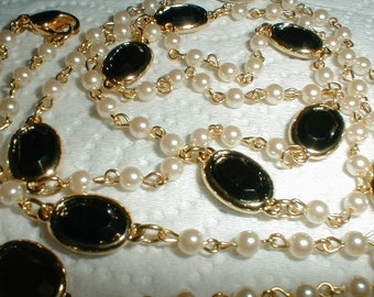 vintage swarovski black crystals seed pearls necklace sautoir