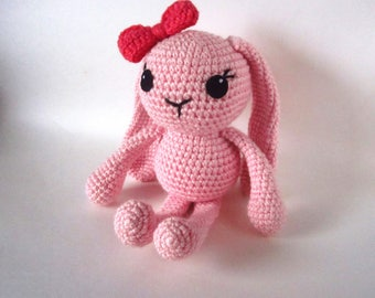 Pink Bunny Doll - Amigurumi Bunny Toy - Adorable Pink Doll for Kids - Plush Rabbit Toy with Bow - Toys for Girls - Handmade Toy Gift  - OOAK