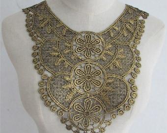 x 1 applique-guipure lace collar fine floral gold/black sewing 31.8 29.2 cm x