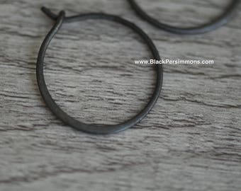 Hand Oxidized Small Circle Hoop Earring - Solid 925 Sterling Silver - Insurance Included