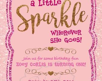 Little Girl First Birthday Invitation