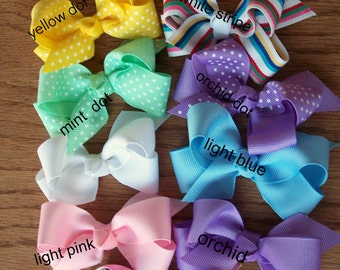 """6  Toddler Boutique Clippie Bows - You pick your favorite colors, 7/8"""" Quality Ribbon"""