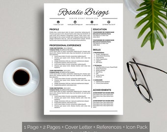 Resume Template Instant Download Creative Resume Template Word, Creative CV, Cover Letter template, Social Media Icons, A4 and US Letter