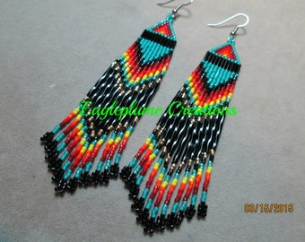 Native American beaded earrings with fringe