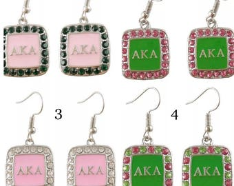Alpha Kappa Alpha Rhinestone Earrings 4 Pair To Choose  From
