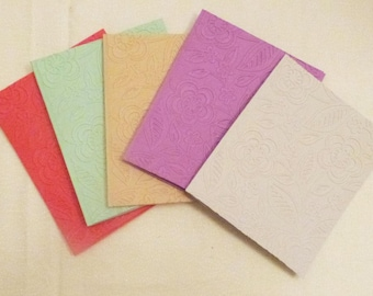 Handmade Embossed All Occasion Greeting Cards, Set of 5, Handmade Greeting Card, Colorgul Card,  Made in the USA, #24G