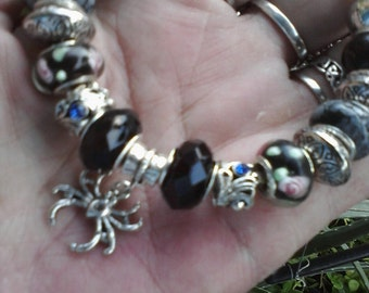 Blue black, rings and things, Euro style bracelet