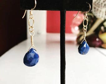 Lapis Lazuli Gemstone Earrings With 14k Gold fill, Gift For Her, Mother's Day, BFF Gift, LN357