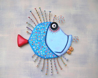 Too Blue Bluegill, MADE to ORDER, Original Found Object Wall Sculpture, Wood Carving, Fish Wall Art, Marine Art, by Fig Jam Studio