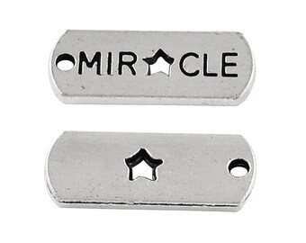 "10 pcs. Antique Silver ""Miracle"" Rectangle Charms Pendants - 21mm X 8mm"