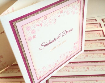 Wedding Invitations with Glitter - Floral Design Wedding Invites with Gold Glitter Border - Glitter Wedding Invitations - In Any Colours