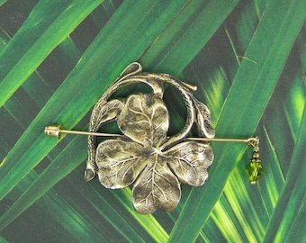 Shamrock Shawl Pin, Clover Pin, Irish Pin, Sweater Pin, Scarf Pin, Shamrock, Swarovski Stick Pin, Stick Pin, Shawl Pin, Four Leaf Clover