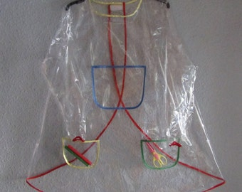 TRANSPARENT PVC Long Adult Baby cover-all ABDL Play Apron, Bib. Multi-Colour, Pink, Blue, Red, Yellow, Black, White.