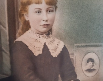 Colorized Victorian Framed Portrait of Young Girl. Possible Mourning.