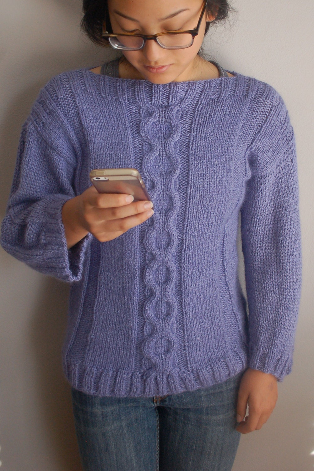 Cable Sweater, Knitting Pattern, easy to knit, Pullover Sweater ...