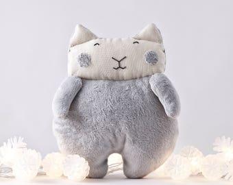 Fluffy Cat Toy, Gray Nursery Decor Girl, Toddler Toys for Girls, Baby Shower Gift, Gray Stuffed Toy, Baby Girl Gift, Cat Lover Gift