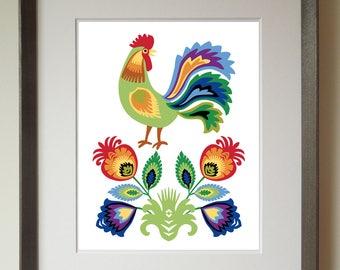 Polish Folk Art Print, Rooster