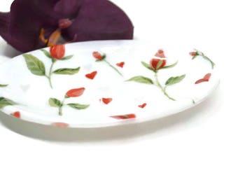 Red Rose Soap Dish, Fused Glass, Sponge Holder, Trinket Dish, Bathroom Decor, Kitchen Decor, Spoon Rest, Housewarming Gift, Rose Decor