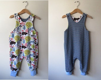 Organic reversible romper, baby romper Swedish Forest with stripes 12 months reversible harem romper toddler playsuit organic baby clothes