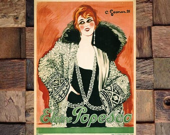 Gesmar Elvine Popesco Vintage Art Print, Gesmar Art, Fashion Art, Vintage Gesmar Art, Vintage Art, Giclee Art Print, fine Art Reproduction