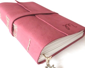 Personalised Leather Journal, Dark Fuchsia