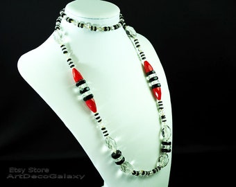 Art Deco Cut Crystal Beads Necklace