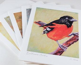 5-Pack Painted Bird Blank Note Cards « Hand-Signed « 5 Varieties + Envelopes