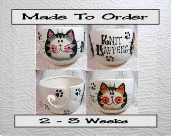 Made To Order Knit Happens Tabby Cats Yarn Bowl Earthenware Clay by Grace M Smith