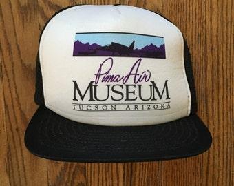 Vintage 90s Pima Air Museum Tucson Arizona Trucker Hat Snapback Baseball Cap