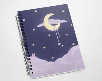 Starry Moon : A5 Spiral Notebook