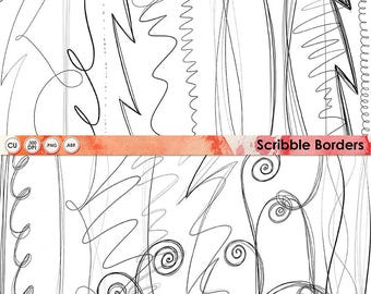 Scribble Border ClipArt, Hand Drawn Lines, Doodle Border, Instant Download Card Graphics, Border Stamps, Scrapbooking, Cardmaking