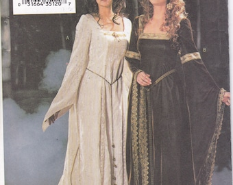 Free Usa Shipping Butterick 3552 Renaissance Medieval Gown DressTrain Making History Costume Size 6 8 10 Bust 30.5 31.5 32.5   Uncut