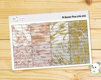 Gold and Rose Gold  Marble Header Functional Planner stickers